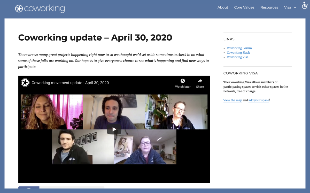 Coworking update – April 30, 2020
